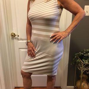 Beige and white Calvin Klein dress